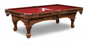 University of Alabama Billiard Table with Logo Cloth