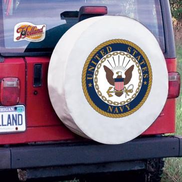 US Navy Logo Tire Cover - White