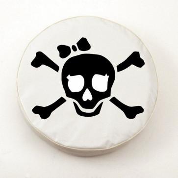 Pirate Girl (black on white) Logo Tire Cover