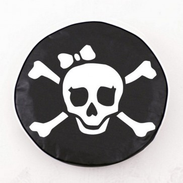 Pirate Girl (white on black) Logo Tire Cover