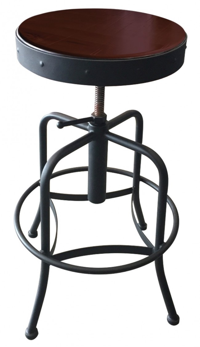 910 industrial adjustable screw stool with black wrinkle finish - Screw top bar stools ...