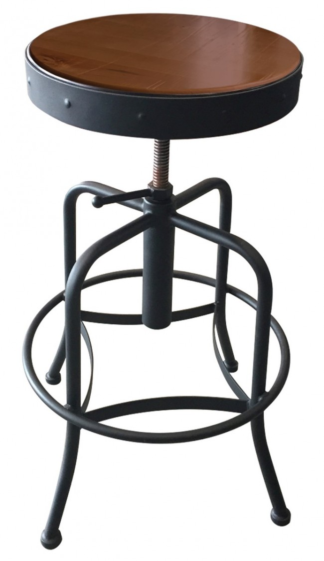 Fabulous 910 Industrial Adjustable Screw Stool With Black Wrinkle Finish Machost Co Dining Chair Design Ideas Machostcouk