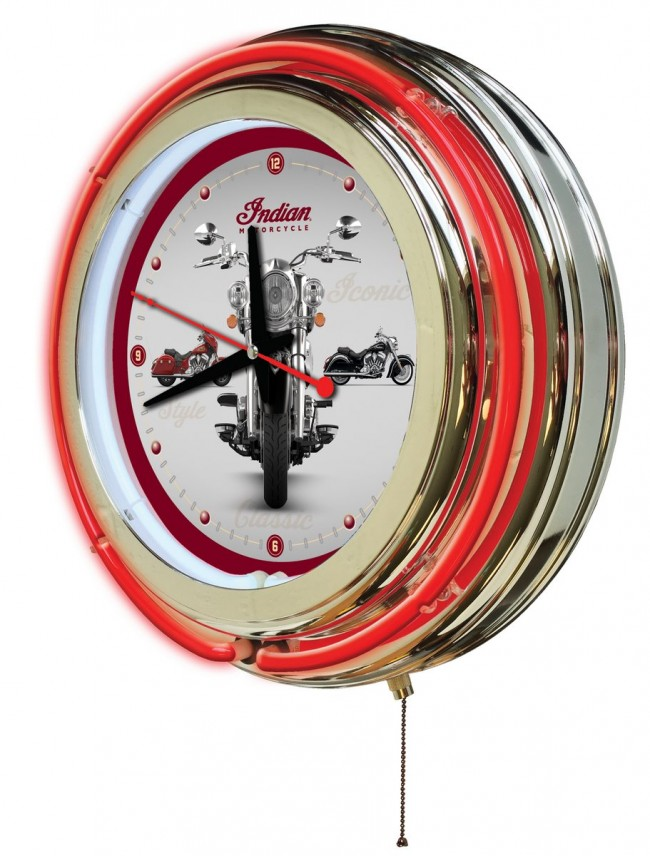 15 Inch Neon Indian Motorcycle 3bike Logo Clock