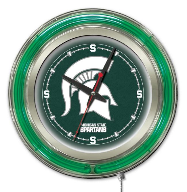 15 Inch Neon Michigan State University Logo Clock