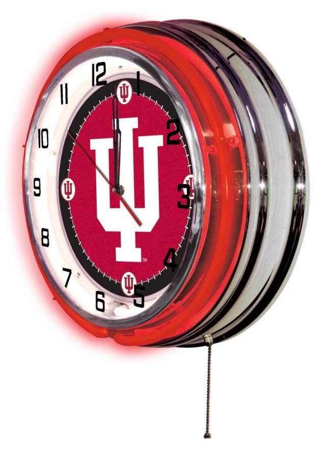 19 Inch Neon Indiana University Logo Clock