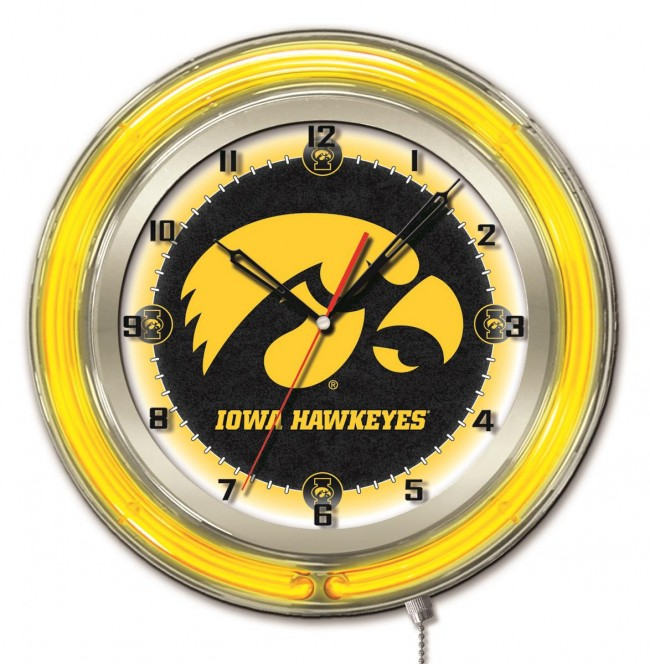 19 Inch Neon University Of Iowa Logo Clock