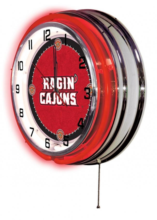 19 Inch Neon University Of Louisiana At Lafayette Logo Clock