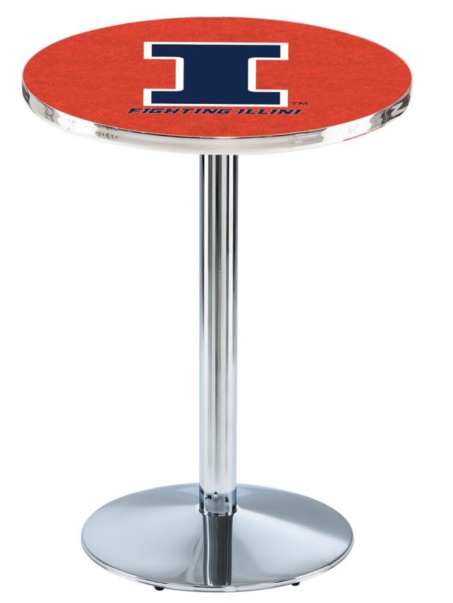 L214 Chrome University Of Illinois Logo Pub Table