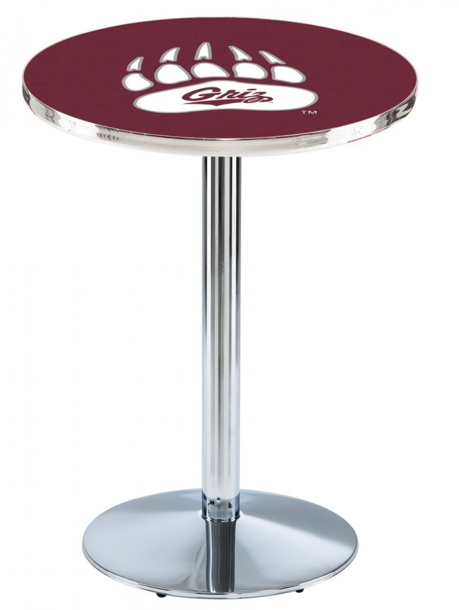 L214 Chrome University Of Montana Logo Pub Table