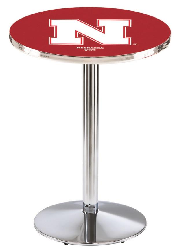 L214 Chrome University Of Nebraska Logo Pub Table
