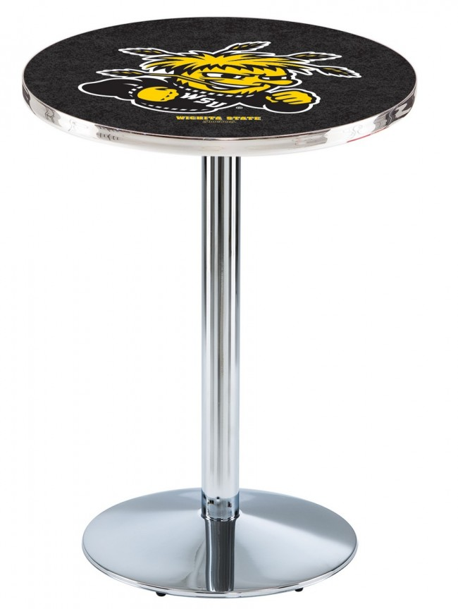 L214 Chrome Wichita State University Logo Pub Table
