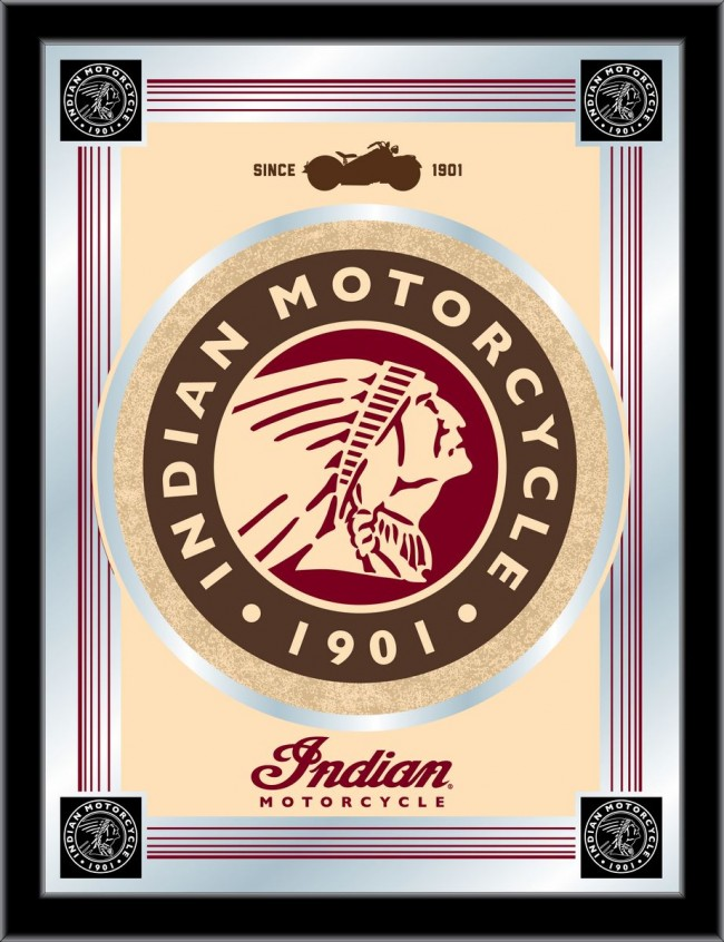 Indian Motorcycles Tan Logo Mirror