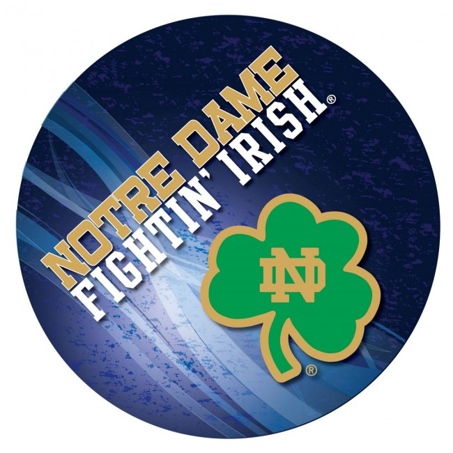 L216 Black University Of Notre Dame Shamrock Logo Pub Table