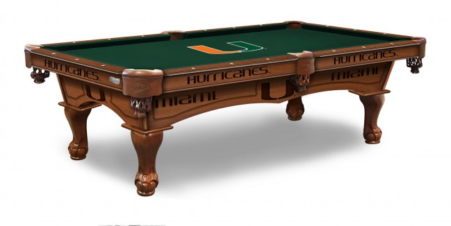 University Of Miami Pool Table With Logo Cloth