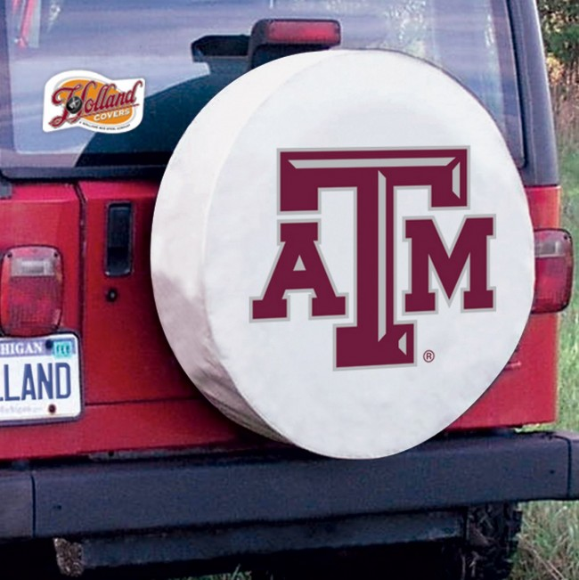 Texas A Amp M Logo Tire Cover White