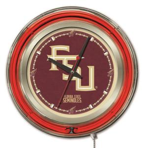 FSU Script 15 Inch Neon Clock