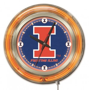 Illinois 15 Inch Neon Clock
