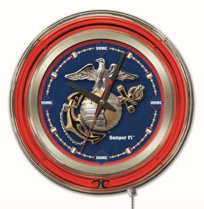 "15"" Neon Us Marine Corps Logo Clock"