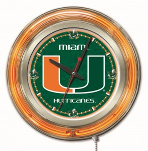 "15"" Neon University of Miami Logo Clock"