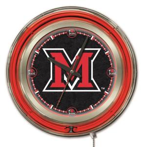 "15"" Neon Miami University Logo Clock"