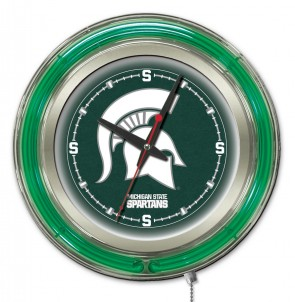 Michigan State 19 Inch Neon Clock Side View