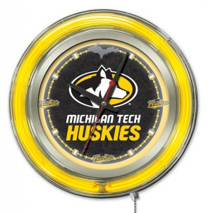 "15"" Neon Michigan Tech Logo Clock"
