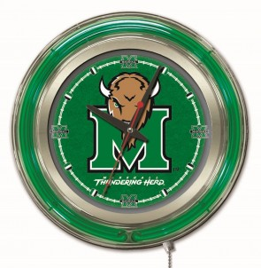"15"" Neon Marshall University Logo Clock"