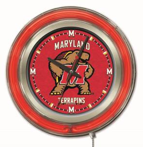 "15"" Neon University of Maryland Logo Clock"