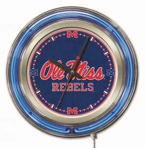 "15"" Neon University of Mississippi Logo Clock"