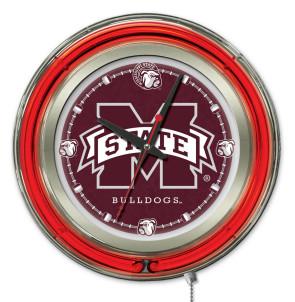 "15"" Neon Mississippi State University Logo Clock"