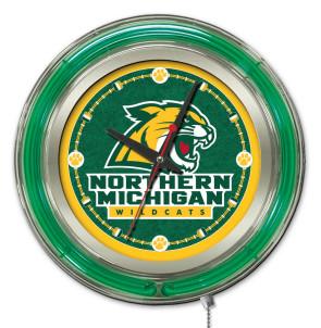 "15"" Neon Northern Michigan University Logo Clock"