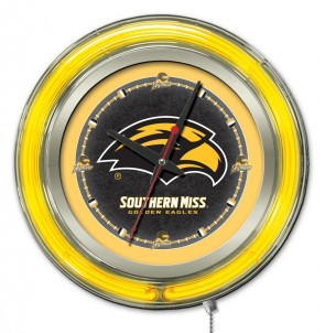 "15"" Neon University of Southern Mississippi Logo Clock"