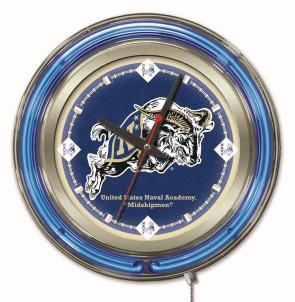 "15"" Neon US Naval Academy Logo Clock"