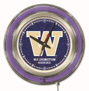 "15"" Neon University of Washington Logo Clock"