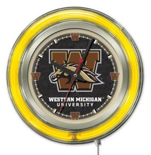 "15"" Neon Western Michigan University Logo Clock"