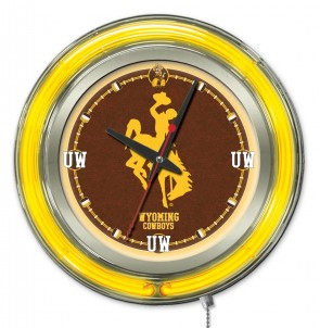 "15"" Neon University of Wyoming Logo Clock"