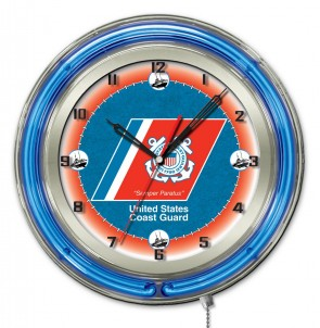 "19"" Neon US Coast Guard Logo Clock"