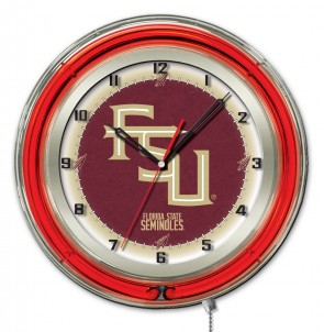 FSU Script 19 Inch Neon Clock