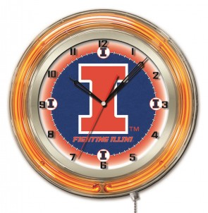 Illinois 19 Inch Neon Clock