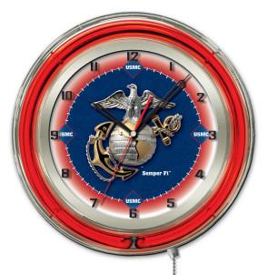 "19"" Neon Us Marine Corps Logo Clock"