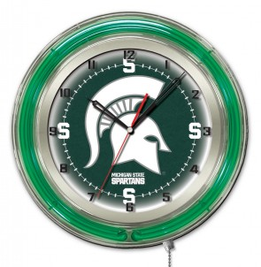 Michigan State 19 Inch Neon Clock Front  View