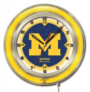 "19"" Neon University of Michigan Logo Clock"