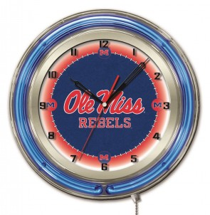 "19"" Neon University of Mississippi Logo Clock"