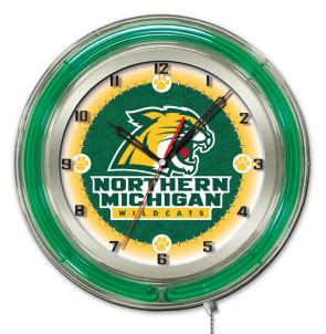 "19"" Neon Northern Michigan University Logo Clock"