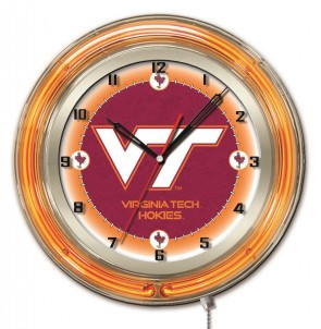 "19"" Neon Virginia Tech Logo Clock"