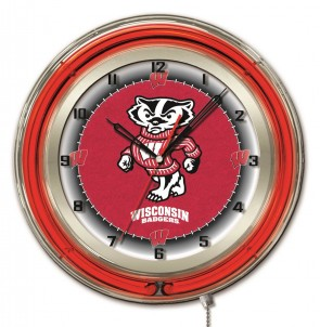 "19"" Neon University of Wisconsin - Bucky Logo Clock"