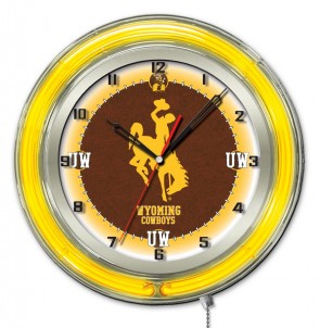 "19"" Neon University of Wyoming Logo Clock"