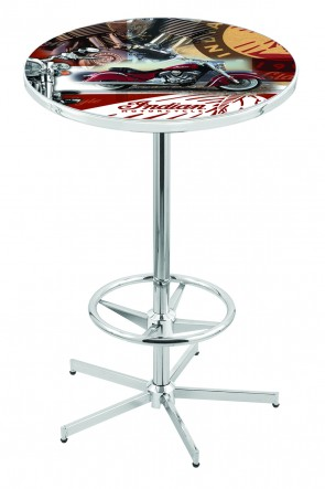 L216 Chrome Indian Motorcycles Collage Pub Table