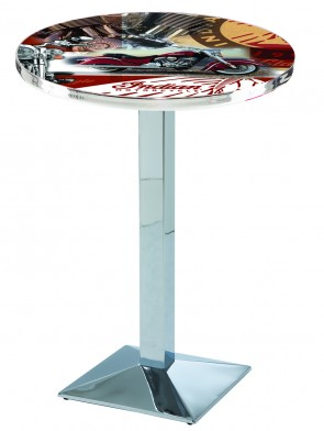 L217 Chrome Indian Motorcycles Collage Pub Table