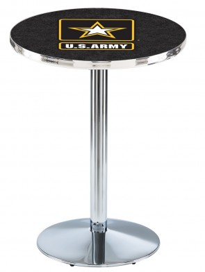 US Army Chrome L214 Logo Pub Table